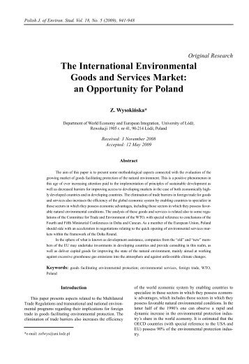 The International Environmental Goods and Services Market: an ...