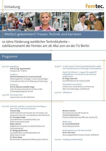 Weit(er) gekommen!? Frauen, Technik und Karrieren Einladung 10 ...