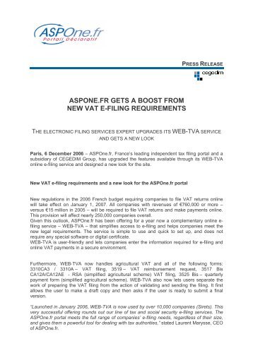 ASPONE.FR GETS A BOOST FROM NEW VAT E-FILING - Cegedim