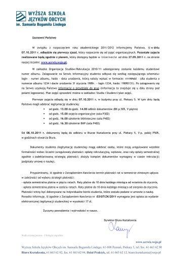 www.serwis.wsjo.pl Wyższa Szkoła Języków Obcych im. Samuela ...