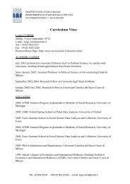 Curriculum Vitae - Dipartimento di Studi Sociali e Politici - Università ...