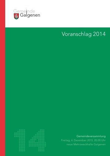 Voranschlag 2014 [PDF, 2.00 MB] - Galgenen