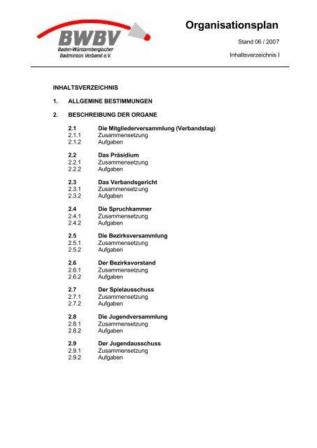 Organisationsplan - Baden - Württembergischer  Badminton - Verband