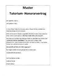 Muster Tutorium- Honorarvertrag - Hochschule Anhalt