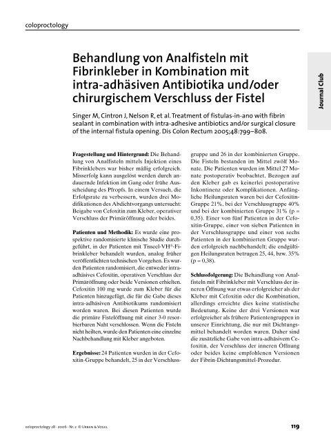 Behandlung von Analfisteln mit Fibrinkleber in Kombination mit intra ...