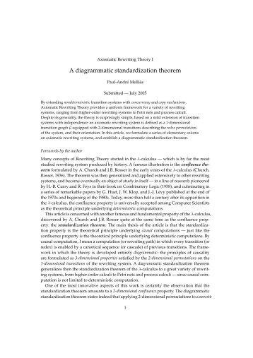A diagrammatic standardization theorem - PPS