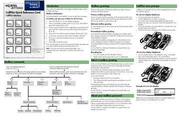 CallPilot Quick Reference Card (CallPilot interface) - TextFiles.com