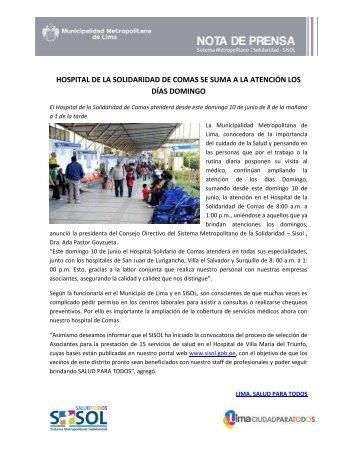 hospital de la solidaridad de comas se suma a la atención los días ...
