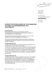 Invitation til informationsmøde vdr. nyt forsøgsprojekt om brugen af ...