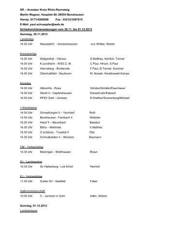Schiedsrichter-Ansetzungen vom 28.11. bis 02.12.2013 - SR Rhoen ...