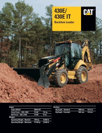Specalog for 430E/430E IT Backhoe Loader ... - Kelly Tractor