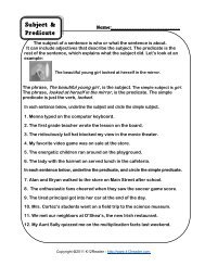 Subject and Predicate Worksheet | Grammar Worksheets from ...