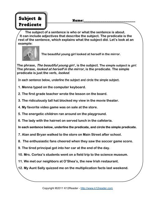 Subject And Predicate Worksheet Grammar Worksheets From