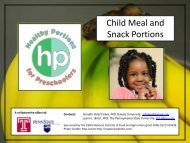 Child Meal and Snack Portions - eXtension