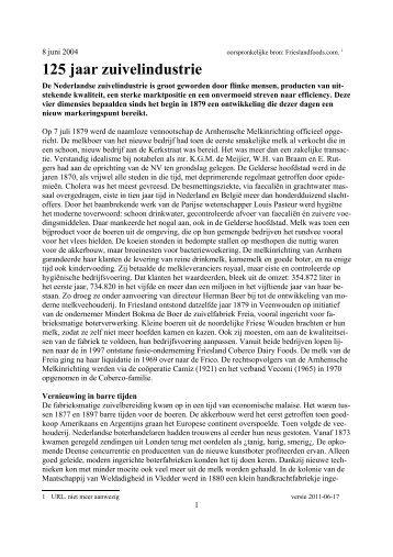125 jaar zuivelindustrie - Zuivelhistorie Nederland