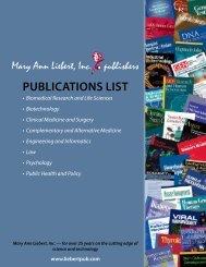 PuBLIcATIONS LIST - Mary Ann Liebert, Inc.