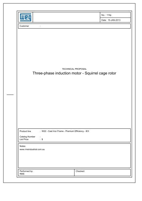Three-phase induction motor - Squirrel cage rotor - RMS Industrial