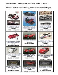 1:24 Modelle aktuell 2007 erhältlich Stand 11.11 ... - bei Corvette-Bien