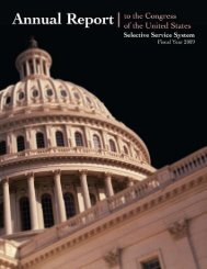 Annual Report 2009 - Selective Service System