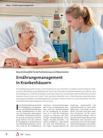 Hier Fokus 6/13: Ernährungsmanagement in Krankenhäusern