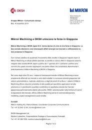 Mikron Machining e DKSH uniscono le forze in Giappone