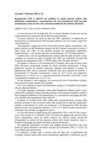 Regolamento CEE n. l601/91 che stabilisce le regole ... - Ismea