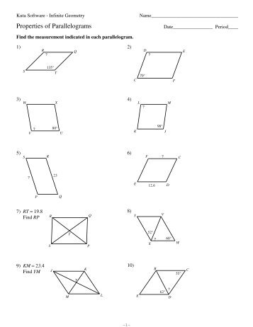 6-4 Properties of Special Parallelograms Properties of Special ...