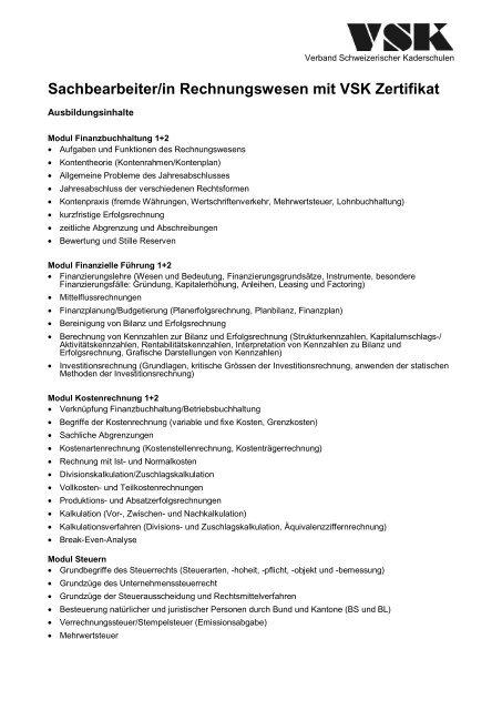 Sachbearbeiterin Rechnungswesen Mit Vsk Zertifikat Verband