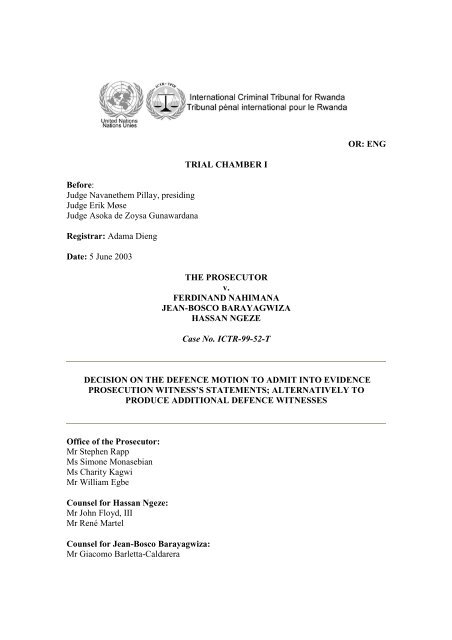 decision on the defence motion to admit into evidence prosecution ...