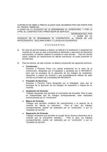 Contrato de obra a precio alzado infonavit - Precio vallas de obra ...