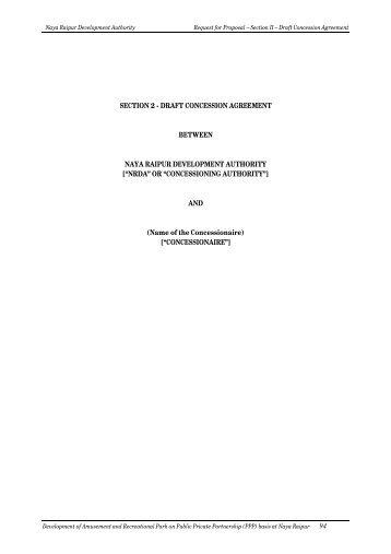 Draft Concession Agreement Amusement Park Naya Raipur