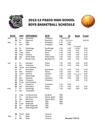 2012-13 PASCO HIGH SCHOOL BOYS BASKETBALL SCHEDULE