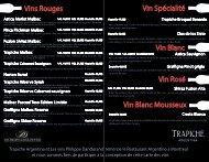 Carte des Vins - Restaurant Argentino
