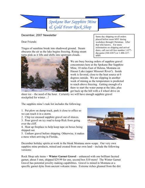 Newsletter 61: December 2007 - Spokane Bar Sapphire Mine