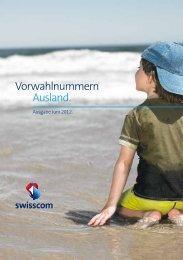 Vorwahlnummern Ausland. - Swisscom