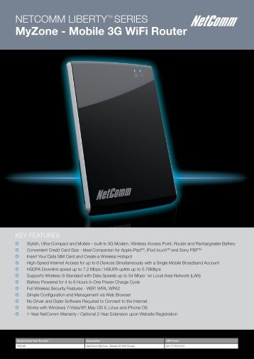 MyZone - Mobile 3G WiFi Router - NetComm Wireless