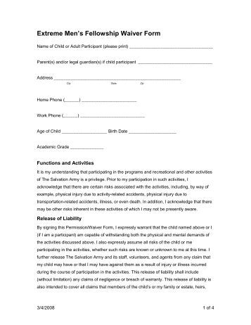 Personal trainer specialist participant waiver form name for Participation waiver template