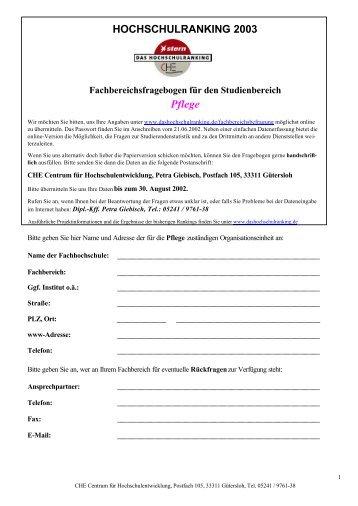 HOCHSCHULRANKING 2003 ... - Centrum für Hochschulentwicklung
