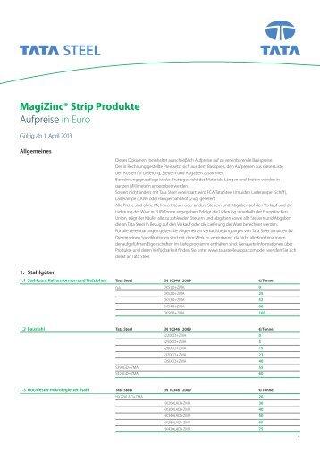 MagiZinc® Strip Produkte Aufpreise in Euro - Tata Steel