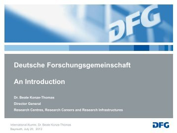 presentation from Dr. Beate Konze-Thomas of the DFG