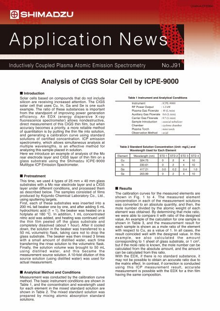 Analysis of CIGS Solar Cell by ICPE-9000 - Shimadzu