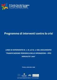 Programma di interventi contro la crisi - Italia Lavoro