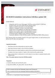 ZE-NC2010 Installation instructions CAN-Bus update V20 - Zenec