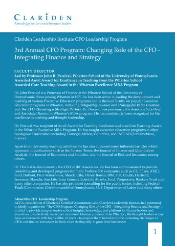 3rd Annual CFO Program: Changing Role of the ... - Clariden Global