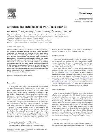 Detection and detrending in fMRI data analysis - Purdue University