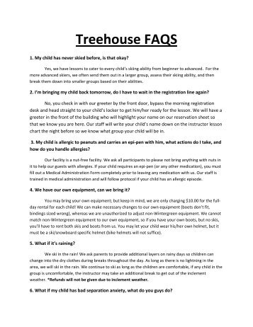 Treehouse FAQS - Wintergreen Resort