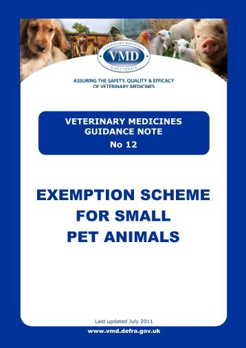 VETERINARY MEDICINES GUIDANCE NOTE No 12