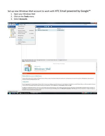 Set up new Windows Mail account to work with HTC Email powered ...