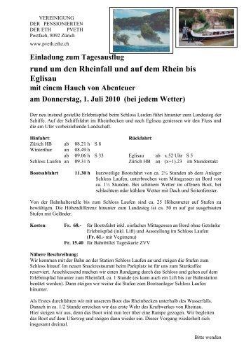 rund um den Rheinfall und auf dem Rhein bis Eglisau - PV ETH