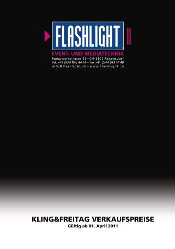 Kling & Freitag Verkaufspreise - Flashlight